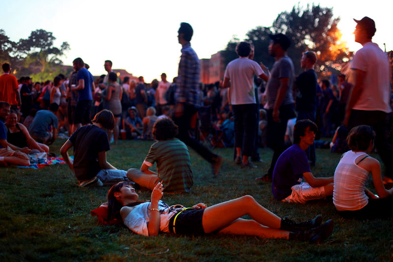 Music lovers settle in for a night of live performances during the Pitchfork music festival in Chicago's Union Park on the city's near west side.