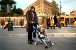 stroller, dog, woman, baby, bus, city street, sidewalk, commuters, mother