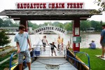 kids, signs, ferry, boat, water, saugatuck, tourists, chain, lawn, ride