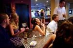 bride, friends, table, pool, restaurant, friends, wedding, groom