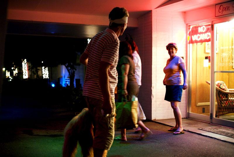 neon, dog, tourists, hotel, motel, summer, night