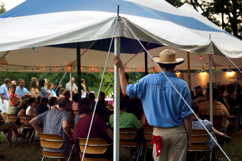 tent, americana, Huck Finn, bandana, back pocket, chairs, audience, straw hat, chambray shirt