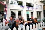 bar, bikers, americana, beer, toast, cheers, drink, patio, outside, summer, happy hour, lunch, restaurant