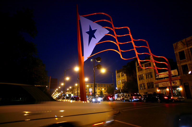 Puerto Rico, night, street lights, old car, flag, sculpture, pride, Sally Ryan