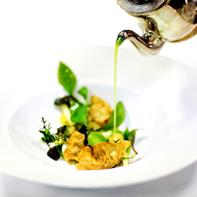 Green garlic gnocchi, served with celery and preserved mustard at Charlie Trotter's, Chicago