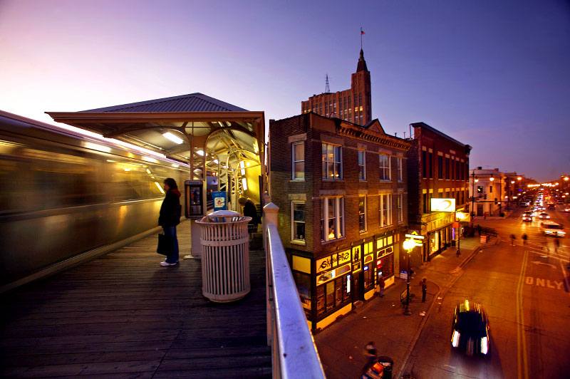 The Damen stop of the blue line el in Chicago serves the bustling Wicker Park and Bucktown neighborhoods.