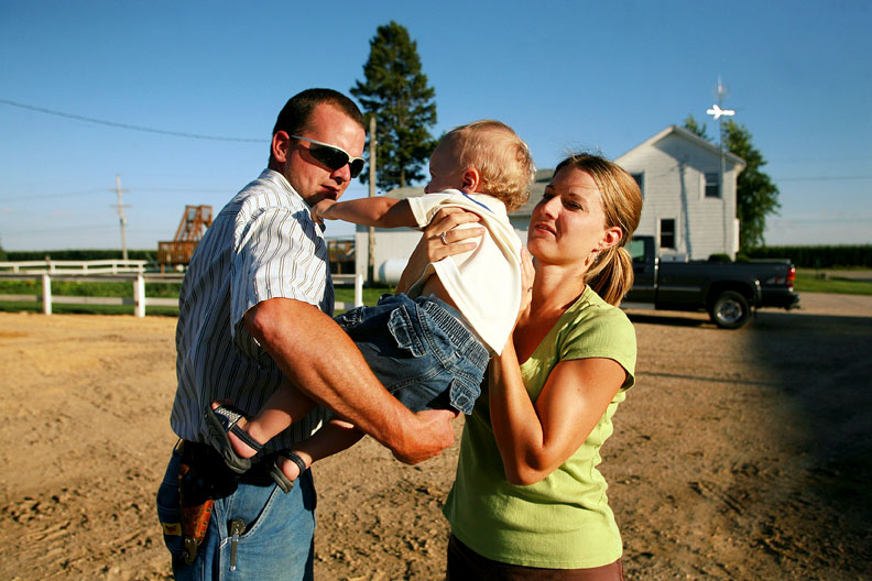 family, mom, dad, baby, farm, afternoon