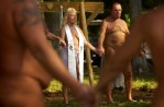 "Jo Ann ""Elf"" Pessagno, 57, leads a clothing-optional interfaith service Sunday at Lake Como Family Nudist Resort in Land O' Lakes, Fla."