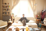 Portrait of musician Nicolas Jaar at home in his studio apartment in Providence, Rhode Island