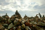 Douglas Schwartz works on his rock sculptures along the shoreline of the Mount Lorretto Unique Area in Staten Island.  Schwartz considers his work &quot;Environmental Art&quot; but jokingly notes says some locals call it, &quot;Why in God's name...&quot;.  Schwartz started the project 10 years ago saying that it started as a way to express his feelings but says it seems to now be a &quot;Zen meditation thing.&quot; 