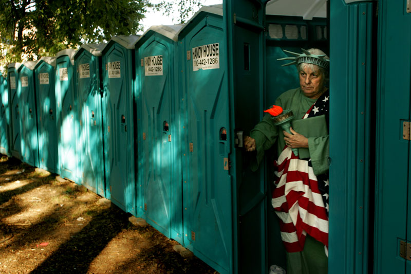 Carol Hunt, of Milton, leaves a Handy House before the Boston Pops Concert at the Hatch Shell in Boston.  {quote}Hey, everybody's got to go.  Even us,{quote} Hunt said referring to a few of her friends dressed in costume for the concert.