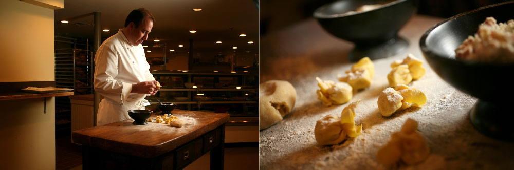 Executive Chef Michael Schlow and handmade sacchetti pasta bundles at Alta Strada in Wellesley, MA.