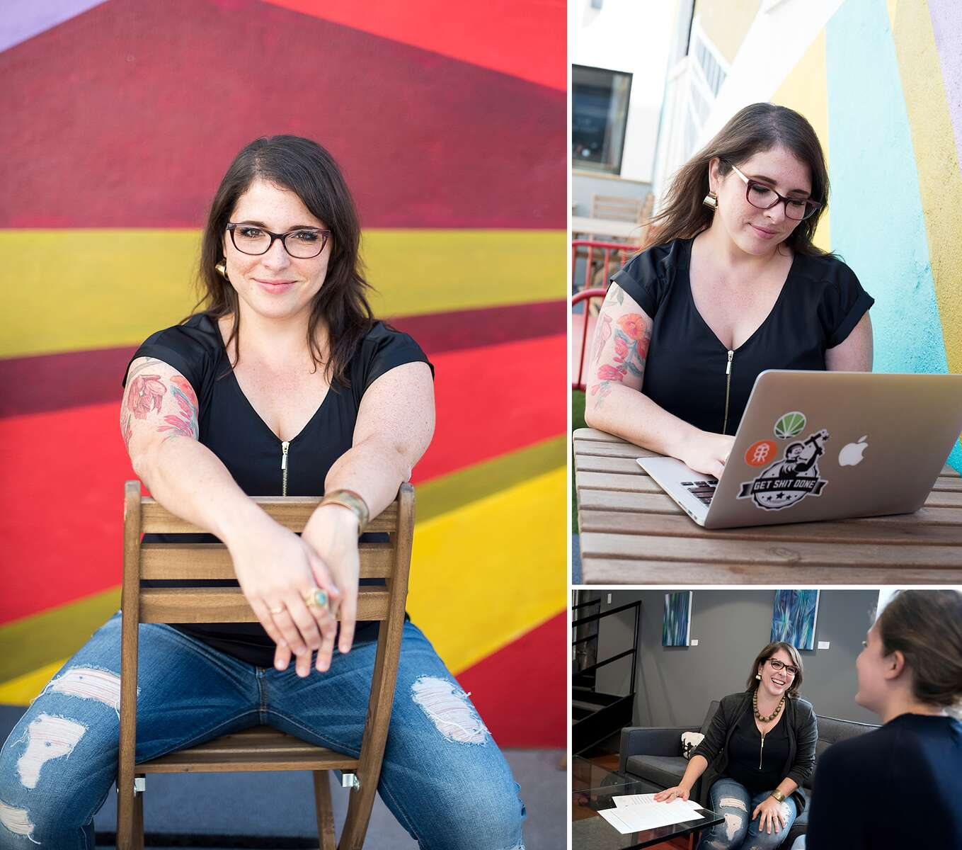 Every few years, Dana refreshes her headshots and this time we did them at The Yard in Gowanus where her business is located. The shoot was a combination of portraits and also photos showing Dana working and interacting with clients.