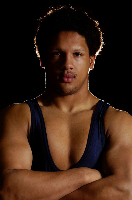 Portrait of wrestler Julian Hightower. By photographer Adena Stevens
