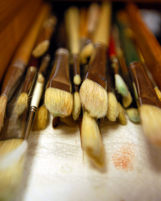 A group of paint brushes in Manahawkin, NJ. By photographer Adena Stevens