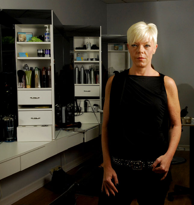 portrait in hair salon of owner Tabatha Coffey, hair stylist/reality tv star -- Ridgewood, New Jersey by photographer Adena Stevens