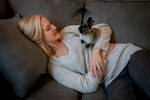Rochelle Scudder cuddles Pierce at home