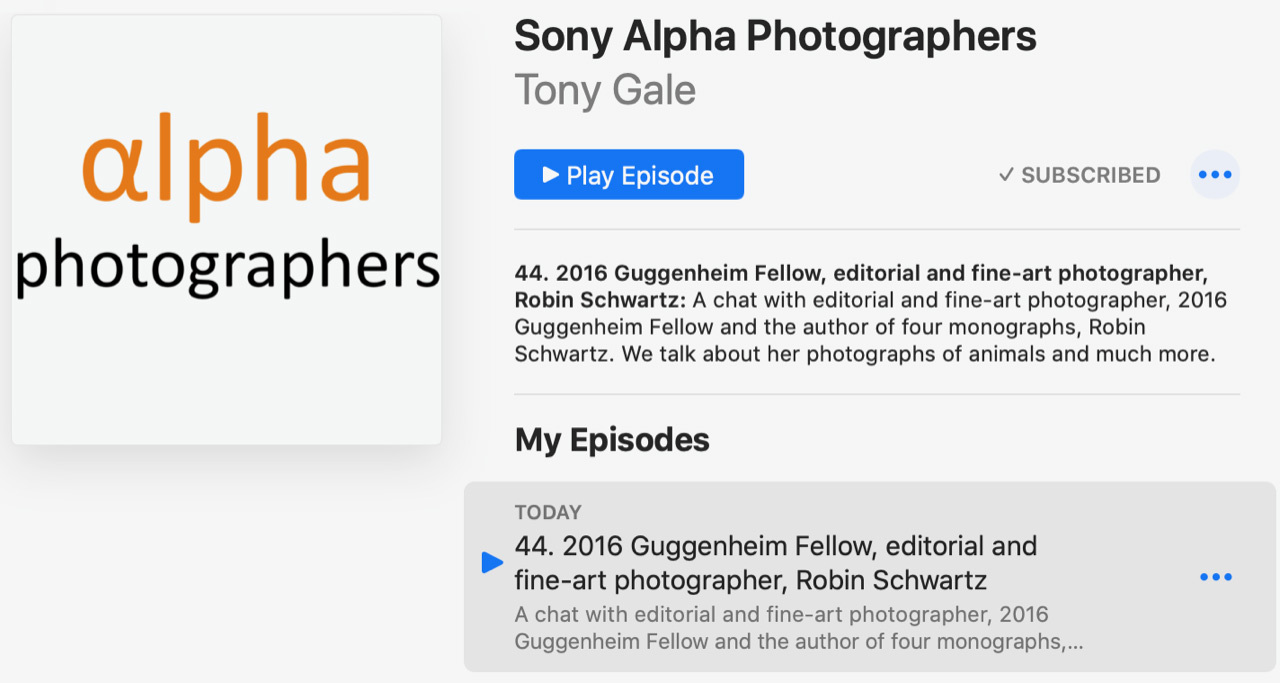 Interviewed on an episode of the Sony Alpha Photographers podcast.   Sony Alpha Photographers has a chat with 2016 Guggenheim Fellow, editorial, and fine-art photographer, Robin Schwartz about her photographs of animals and much more.