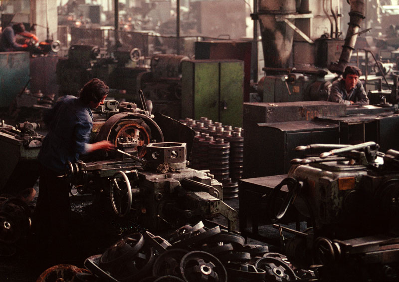 With the collapsing Communist government, work had come to a standstill in a machine parts factory in Tirane, Albania