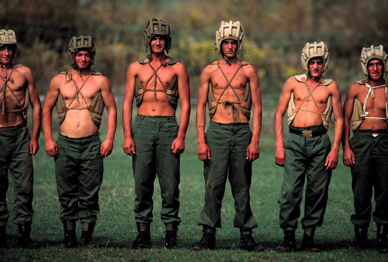 Military base in Shkoder, Albania.Soldiers line-up before beginning a drill in self defense, a part of the requirement of a two-year service.