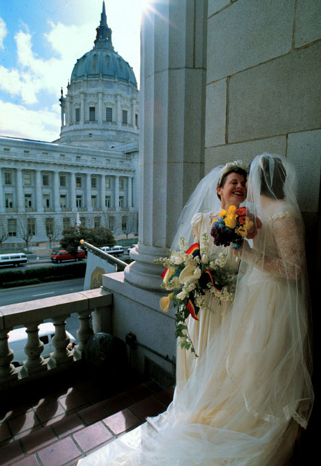 Gay and lesbian couples in San Francisco turned their domestic partners registration at City Hall into a massive wedding.