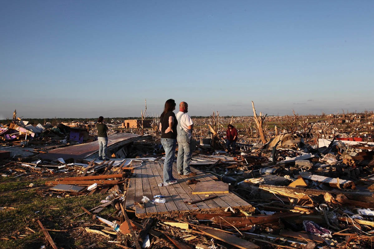 A Kentucky Street scene where homes once stood, now a view as far east as can be seen by shocked residents.