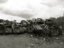 An overview of a junk yard along Almonaster Ave where towed Katrina cars sit until the future price of metal is good.