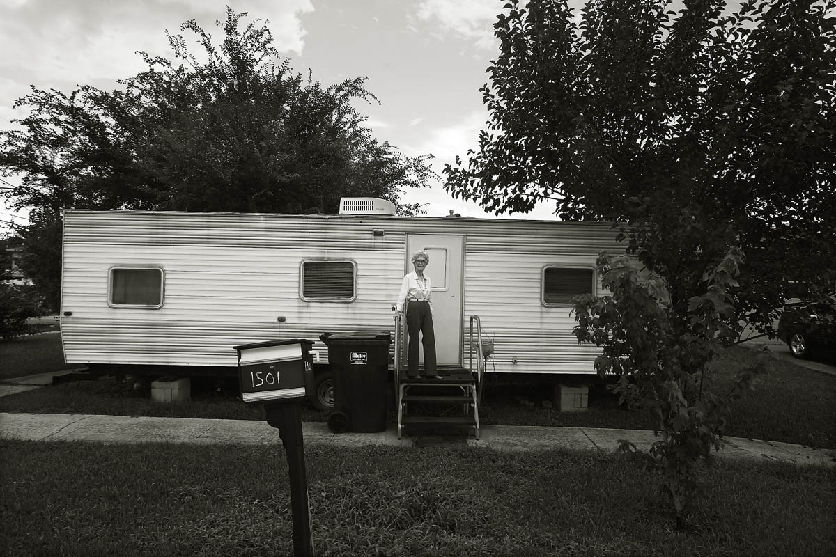 A portrait of  Lake Shore neighborhood resident Madge Goff,85, who still seeks shelter in the FEMA trailer parked in her front yard as her home is slowly being renovated from Katrina damage. She has had bad experiences with contractors and is doing what work she can while she waits.