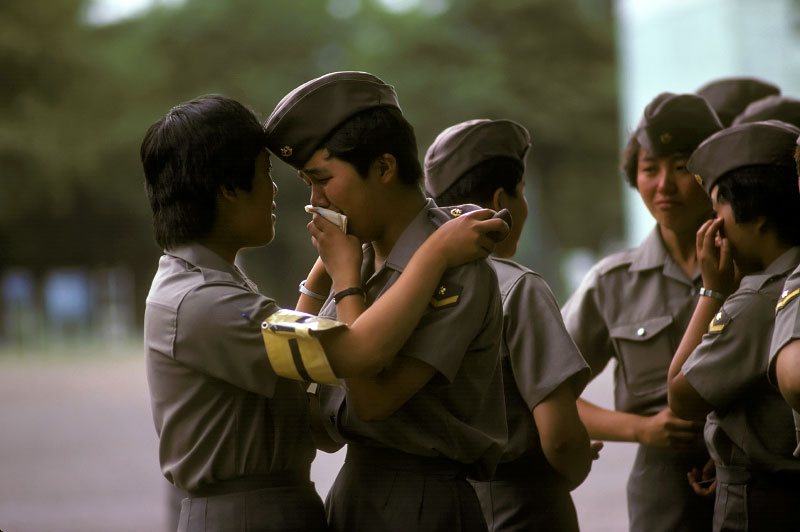 A Day in the Life of Japan: The last day of basic infantry training for 191 young women at the Ground Self Defense Force Base in Asaka, near Tokyo. Announcments were made for postings and friends said their goodbyes.