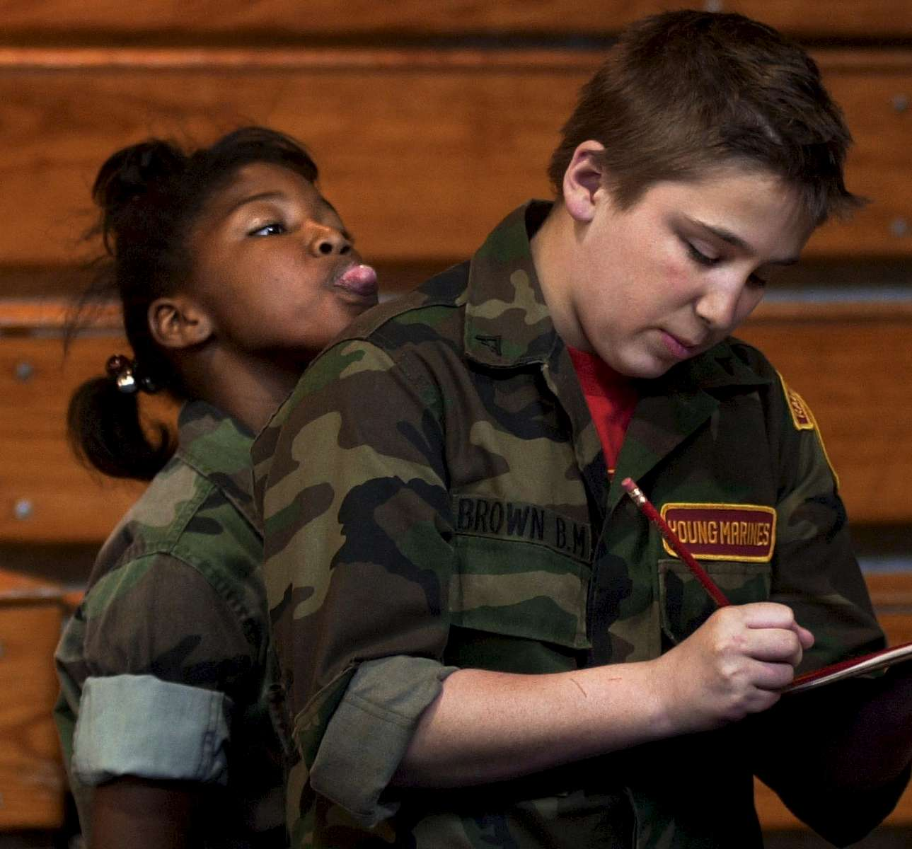 Brielle Rocco shows her displeasure with officer Brandon Brown in the Young Marines program. The program is held to help youth gain better discipline and respect towards others.