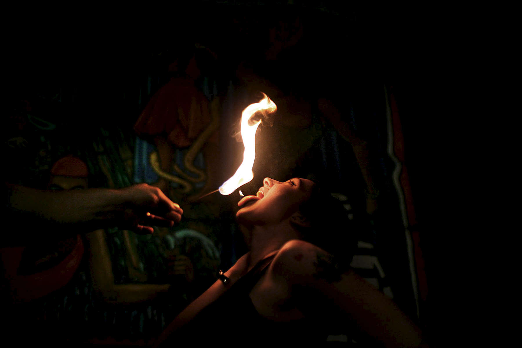 Megan Intfen learns how to swallow fire at the Coney Island Sideshow class. Intfen and other students learned to swallow fire as well as numerous other side show acts.  Intfen is from Brooklyn.