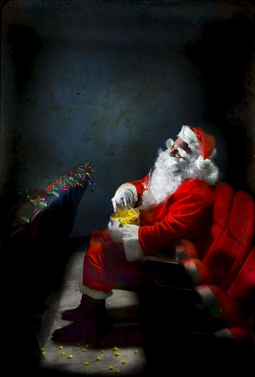 A photo illustration for a story about going to movies on Christmas Day.