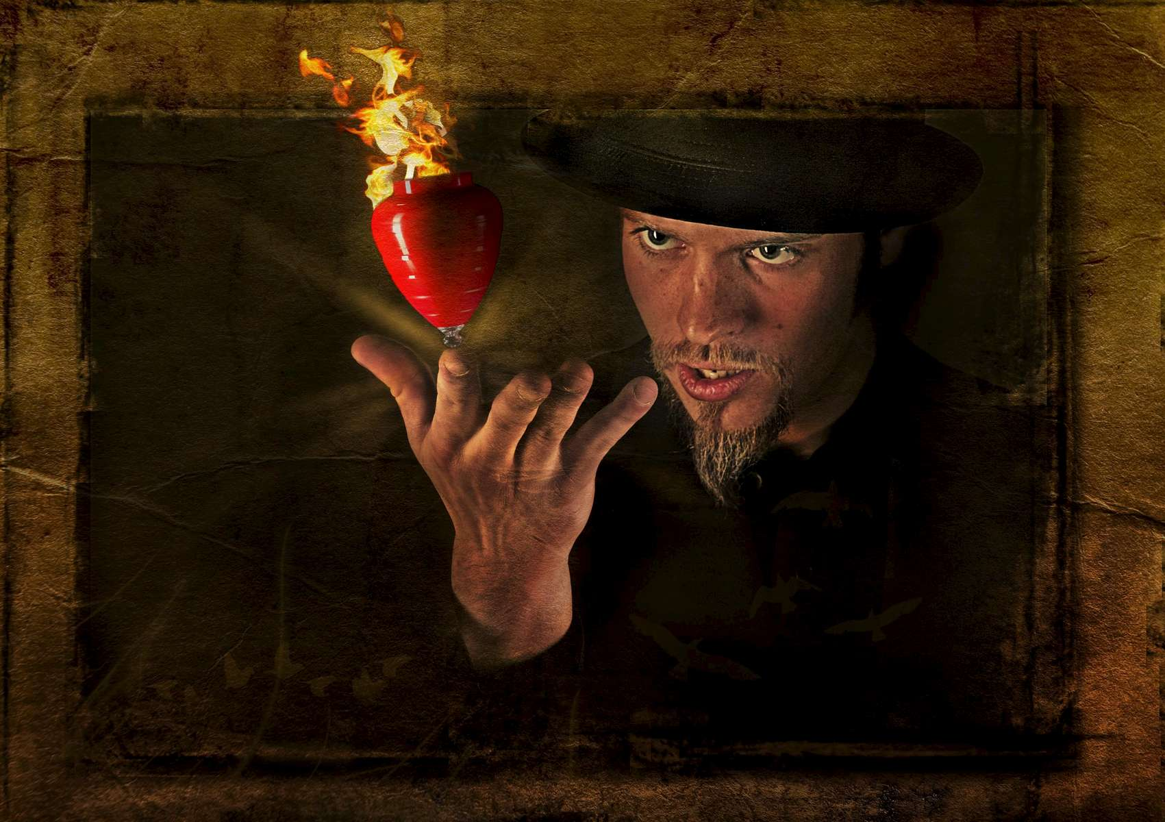 A photo illustration of performance artist, Eric Girardi, of Bending Gravity Entertainment.