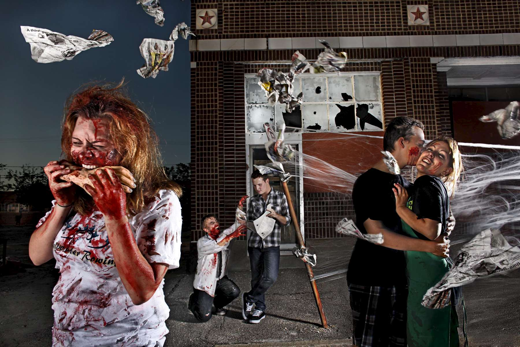A photo illustration for a story about the rise of zombie-themed games hitting the streets of Hampton Roads.