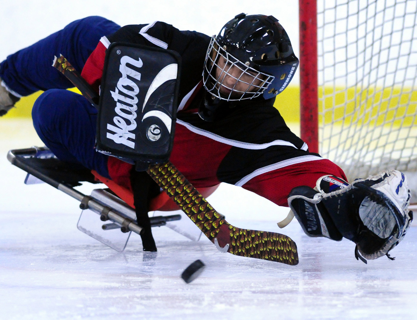 Goalie Michael Messier makes one of his many stops during the tournament championship game in Ottawa. Messier was instrumental in their win, shutting down the Kitchener Waterloo Sidewinders.