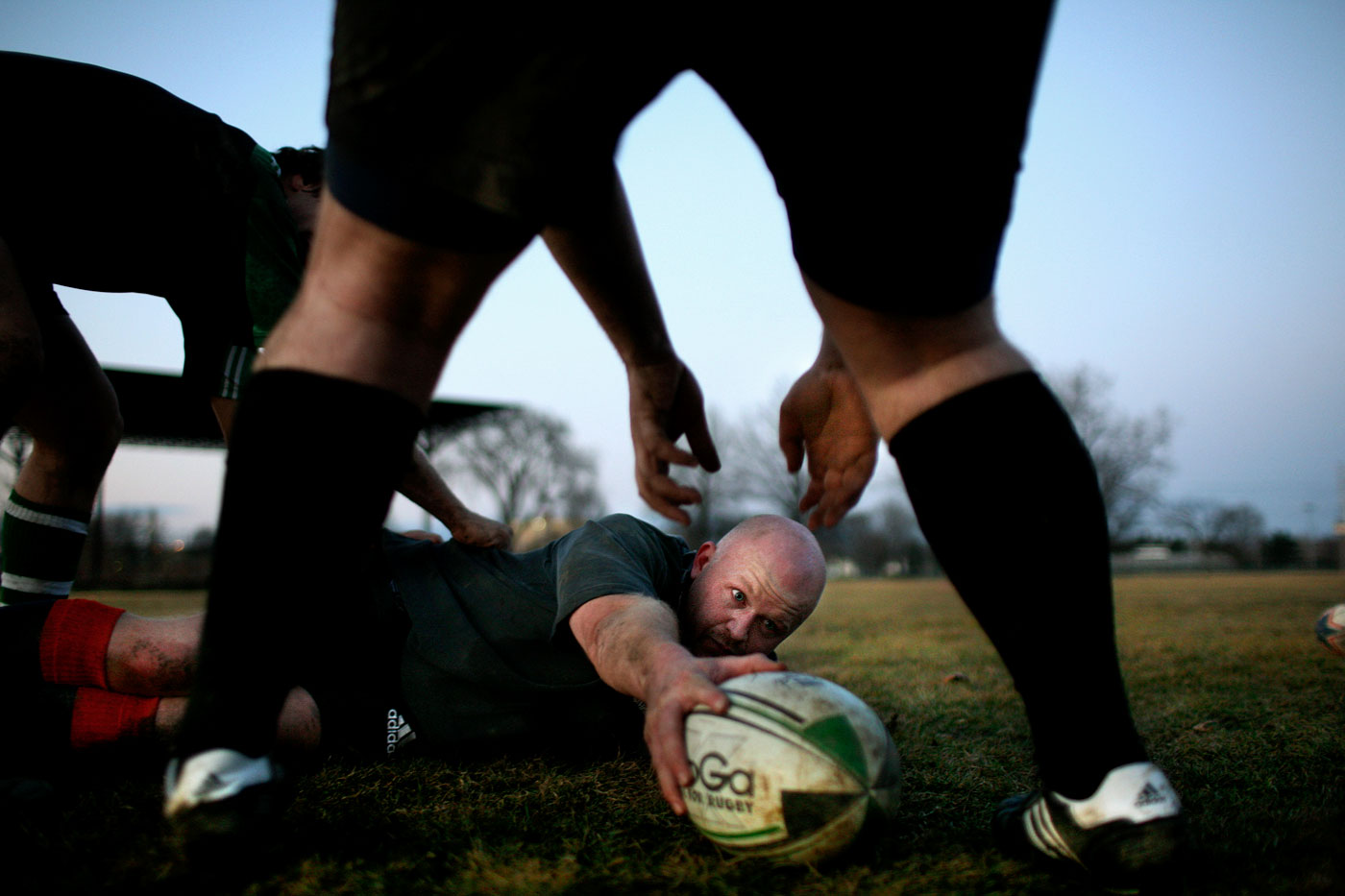 Rick Brainerd, 37, of Rocky Hill, is a member of the Hartford Wanderers rugby team - here he practices with the others at Colt Park in Hartford. The Wanderers were founded in the 1960's.