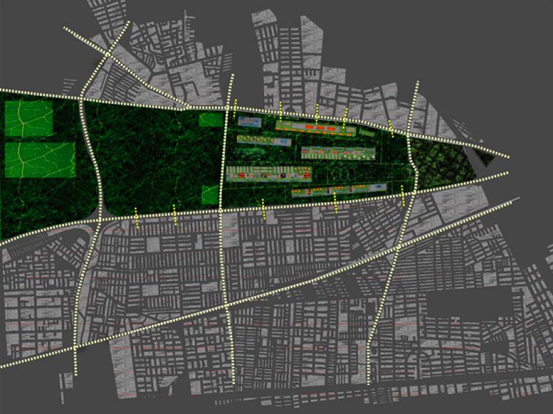(ris-chabloz 2003)Projet:Urbanisme- Santiago de Chili - ChiliChef de projet:Antoine RisCorrado AlberiMandat:Concours international