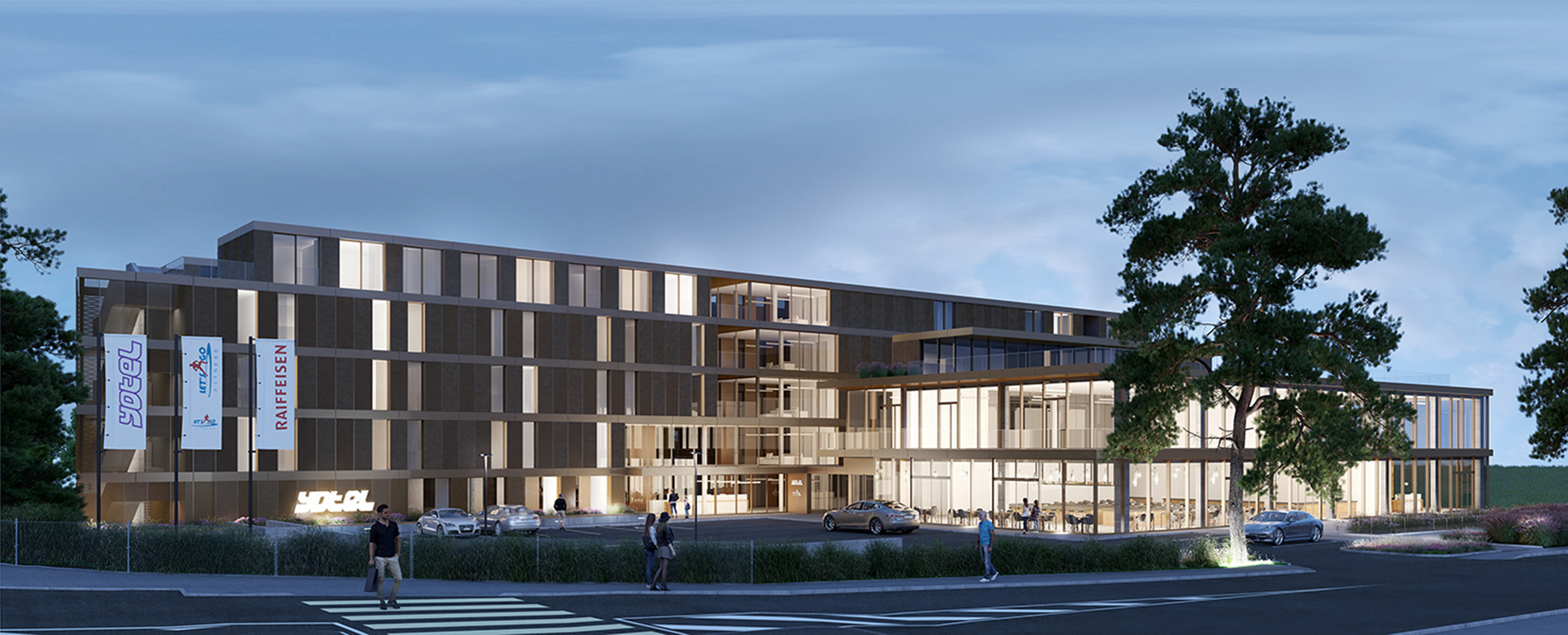 (ris+partenaires en cours)Projet: Construction d'un hôtel et d'une BanqueFounex - SuisseSurface: 8'868 m2Chef de projet:Raoul FrauenfelderMandat: Réalisation