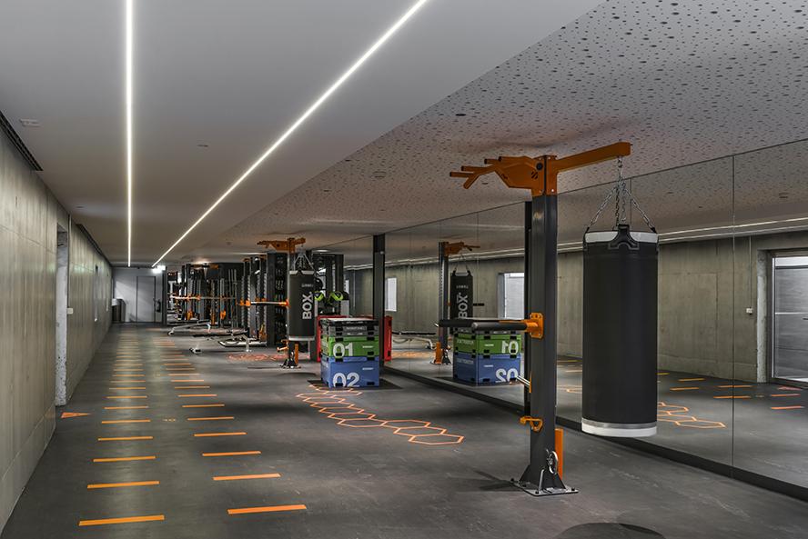 (ris-chabloz 2016)Projet:Aménagement d'un local de fitnessCologny – SuisseSurface:192 m2Chef de projet:Bernd HardenMandat:Projet et réalisation