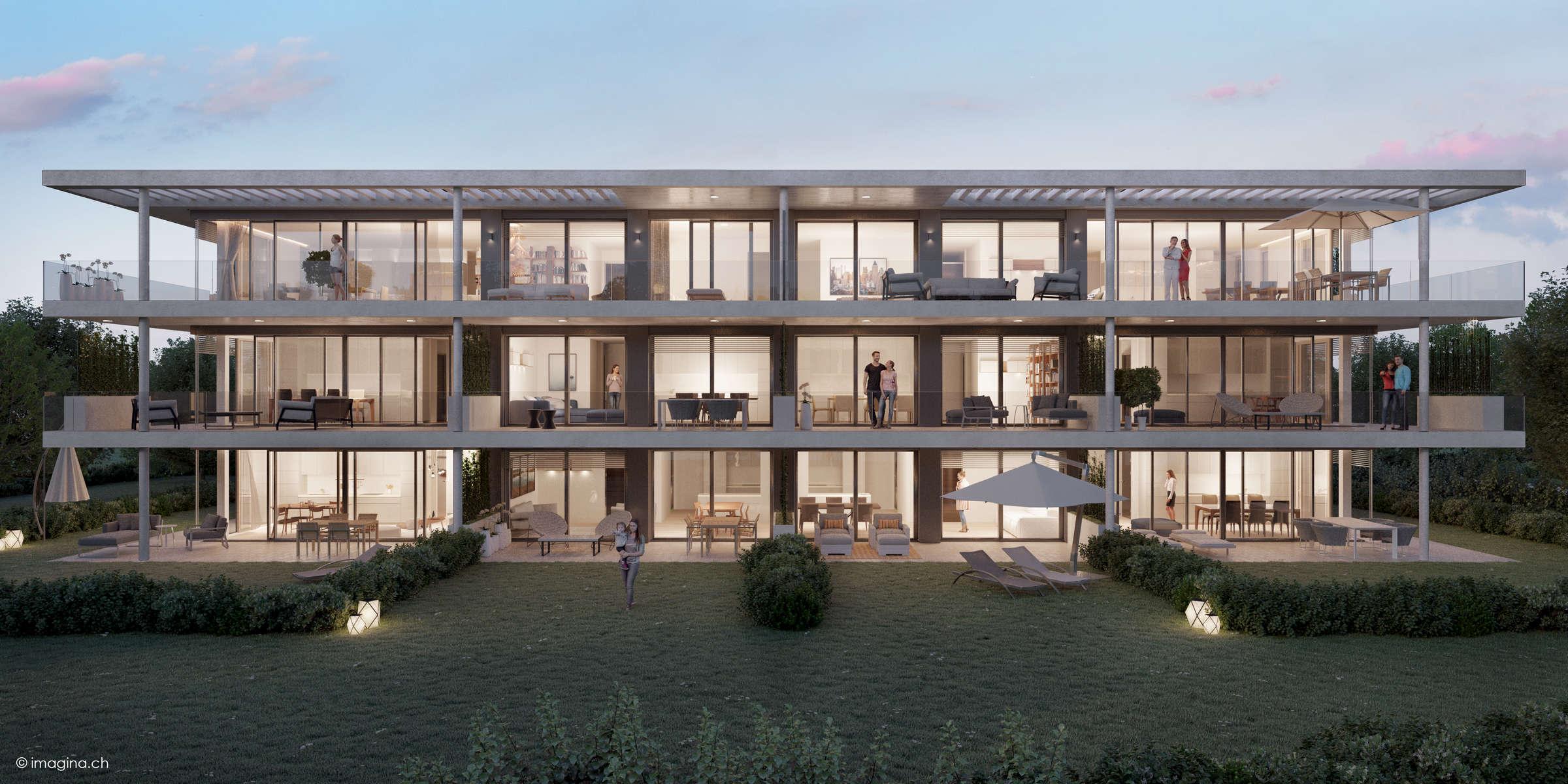 (ris+partenaires 2017)Projet: Construction d'un bâtiment de 10 logements HPEChêne-Bougeries - SuisseSurface: 1'052 m2Chef de projet:Antoine RisMandat: ProjetSite
