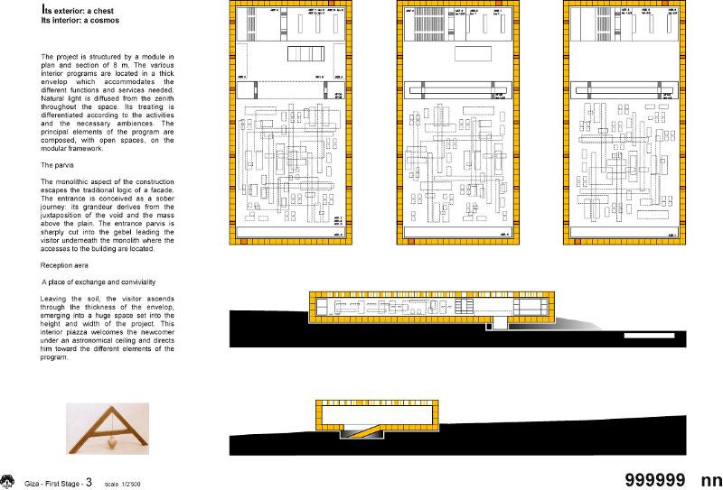 (ris-chabloz 2002)Projet:Grand musée du Caire Nouvelle musée de la civilisation pharaoniqueCaire- EgypteSurface:100'000 m2 Projet:Corrado AlberiAntoine BonhommeMagali AsseoMandat:Concours internationalCollaboration:Pierre ZignaniProject document