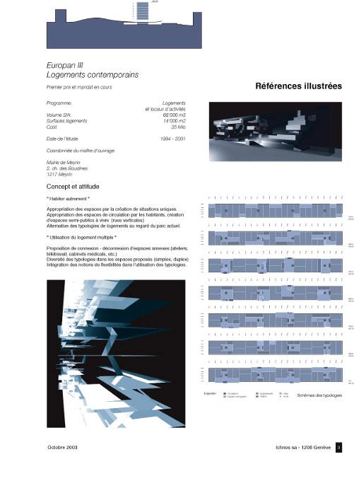 (Ichnos  1994-2002)Projet:Europan IIIRestructuration de la commune de Meyrin /1er prixMeyrin - SuisseSurface:12'000 m2 logementsProjet:Antoine RisMandat:Project préliminaireCollaboration:Katerina Diakomidou - Alexios DallasKonstaninos Papandreou - Nicolaos CharitosNikolaos Nikodimos -GR Eric Pajot - CHLien:http://www.europan.chProject document
