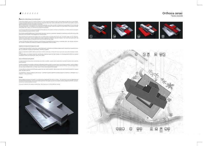 (ris-chabloz 2007)Projet:Centre neurologique Lausanne - SuisseSurface:15'300 m2 Date:2007Chef de projet:Bernd Harden Julia SubletMandat:Concours