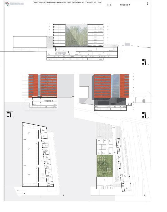 (ris-chabloz)Projet:Extension de l'OMC - surface de travail et AuditoriumGenève - SuisseChef de projet:Corrado AlberiMandat:Concours national / 2ème tour