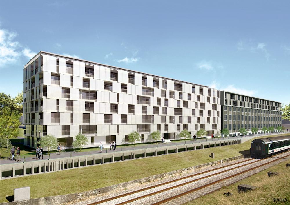 (ris-chabloz 2010)Projet :Bâtiment de logement et parking souterrainGenève - SuisseSurface :10'000 m2Chef de projet :Antoine RisRaoul FrauenfelderMandat :Projet global