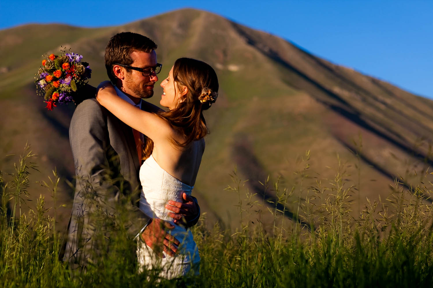 A portrait of a bride and groom just after their wedding ceremony in Bellevue, Idaho