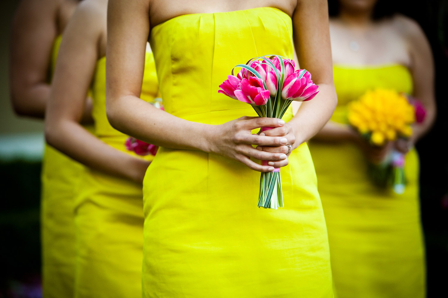 A detail photograph of the Bridesmaid's floral bouquets at a wedding at Wente Vineyards in San Francisco.