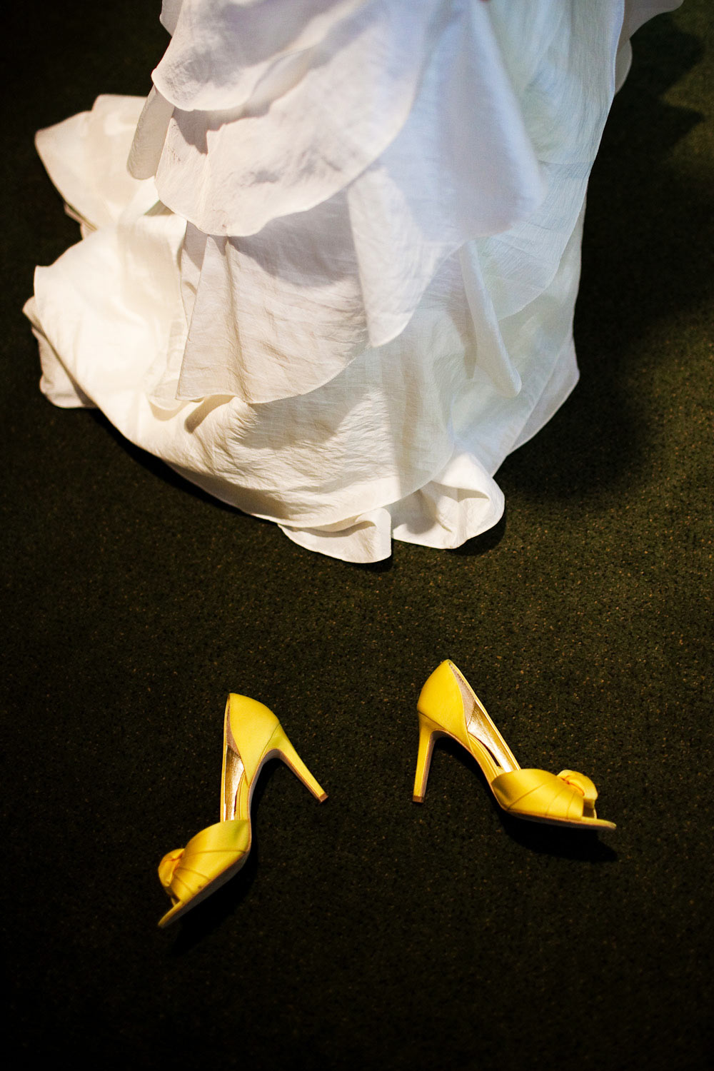 A detail photograph of a Bride's wedding shoes.