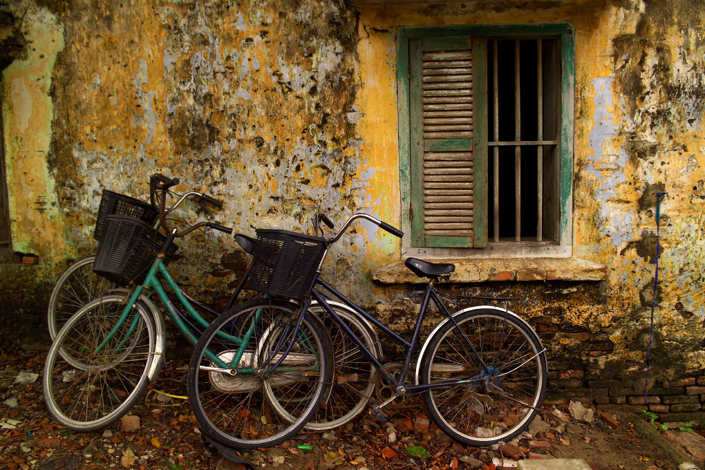 bicycles on a side streetHoi An Ancient Town, Vietnam