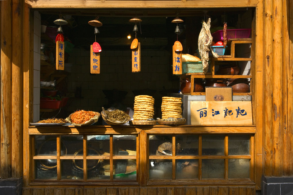 street counter of a Naxi snack barOld Town - Lijiang, China